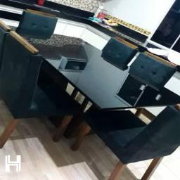 Mesa Jantar 1.60x0.90m com 6 cadeiras - Direto Fábrica