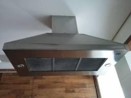 Coifa em aço inox com iluminação e motor
