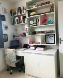 Conjunto: Escrivaninha + Duas Prateleiras + Nicho + Armário