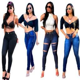 Kit 5 Calça Feminina Jeans Cintura Alta Com Lycra Barata