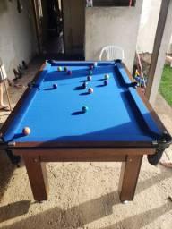 Mesa Tentação Carlin Cor Imbuia Tecido Azul Mod. LXLK1857