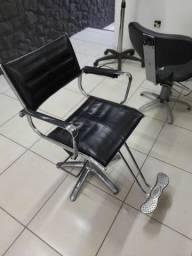 Cadeiras hidráulicas cabeleireiro, inox.