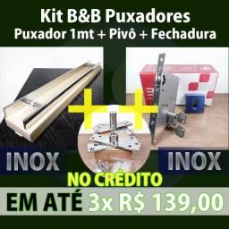 Título do anúncio: Kit para Porta de Abrir com Puxador 1mt + Pivô Pivotante + Fechadura Rolete