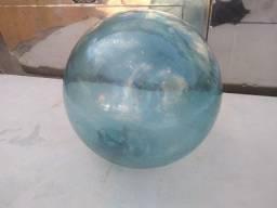 Bóia Náutica Antiga em Vidro Azul