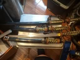 Conjunto com 3 espadas Samurai