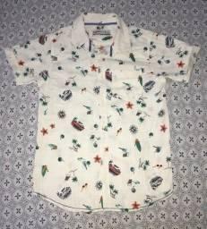 Camisa linho manga curta infantil 11-12 anos