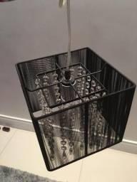 Pendente de Cristal - 1 Lâmpada Seda Preta