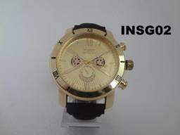 Relógio Invicta Ref. INSG02, Novo, Dourado e Preto, Vedação, Garantia, Bateria reserva