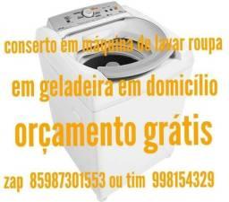 Conserto de maquinas lavar roupa e geladeira e domicílio orçamento grátis
