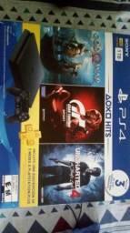 PS4 Slim 1TB Completo + 3 Jogos ou troco por PC Gamer