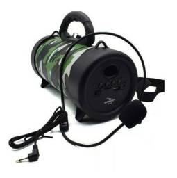 Caixa de Som Bluetooth Mp3 com Microfone - Canhão de som