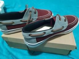 Sapato em couro e canvas estilo dock side MR. Kitsch original 40