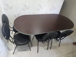 Mesa de reunião oval (forrada contact madeira) Escritório