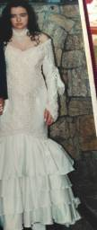 Vestido De Noiva Civil/cartório Creme Sereia Bordado