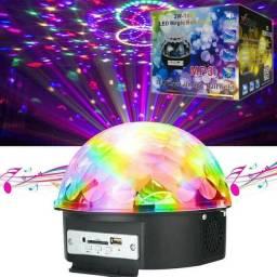CAIXA DE SOM GLOBO DE LUZ GIRATÓRIO LED RGB FESTA BALADA MP3.