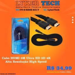 Cabo HDMI 3M Ultra HD 3D 4K Alta Resolução