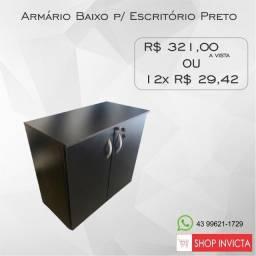 Armário Baixo p/ Escritório Preto 1 Prateleira / Novo / NFE