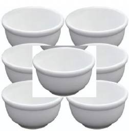 Kit 7un Tigela Bowl Porcelana Branco Caldo Sopa Salada 250ml
