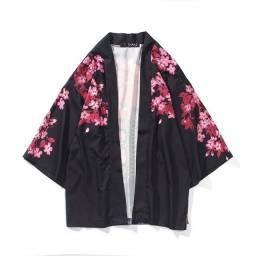 Kimono Cardigan Masculino Carpa Preto Tam M