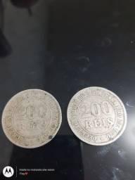Moeda antiga 200 reis 1874 e 1876