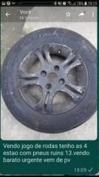 Título do anúncio: Vendo jogo de roda tudo em bom estado so falta troca os pneus barato