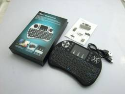 Mini Teclado Iluminado Air Mouse Touch Wireless 3 Cores Led