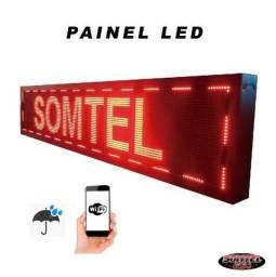 Painel Led Letreiro 160x40 Vermelho Externo Wi-Fi