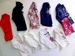 Camisetas de manga longa e calça ( tamanhos G e 1 ano) - Menina