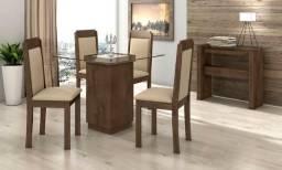 Mesa Petra 4 Cadeiras De Vidro Pronta entrega