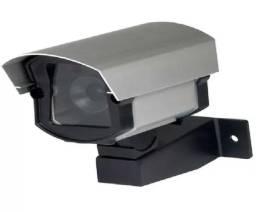 Câmera Segurança Falsa Com Led Infra Bivolt Suporte Fixação