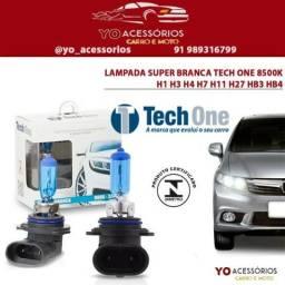 Par Lampada Super Branca Tech One 8500k H1 H3 H4 H7 H11 H27 HB3 HB4 comprar usado  Belém