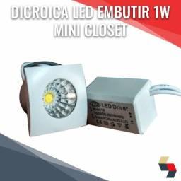 Dicroica led embutir mini 1w closet