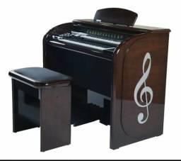 Órgão eletrônico Digital Acordes Top Elegance alto brilho imbuia 2d