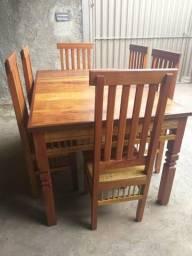 Mesa 1.60x1 com 6 cadeiras perobá