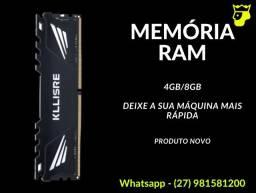 Memória Ram DDR3 kllisre 8gb 1600mhz (Nova e com Garantia)