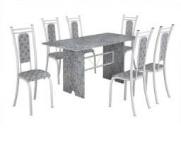 Mesa de granito com pés de mármore, acompanha 4 cadeiras