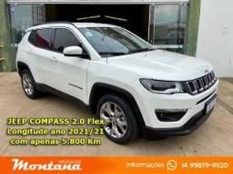 Título do anúncio: Jeep Compass Longitude 2.0 Flex ano 2021/21 * Apenas 5.800 Km *