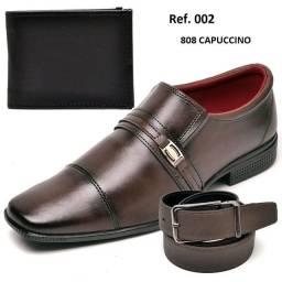 Sapatos masculino acompanha carteira e cinto