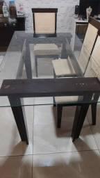 Título do anúncio: Mesa e aparador de madeira com tampo de vidro