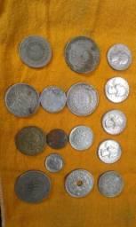 Moedas antigas e relógios de bolso antigo