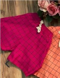 Short xadrez pink
