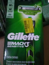 Aparelho de barber gillettemach3 26 itens na caixa e cartucho 16 4 unidades