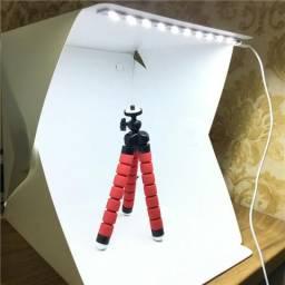 Mini Estúdio Fotográfico Portátil Com 2 Fundos Box 20 Leds Loja Online