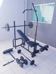 Aparelho de Musculação Completo + Barras + 62kg Anilhas. Entrego!