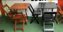 Jogo de mesa 70x70 com 4 cadeiras