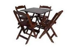 Mesa e Cadeiras Dobráveis - em madeira - Direto da Fábrica
