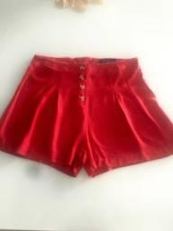 Short de pano vermelho - Bazar da kelly