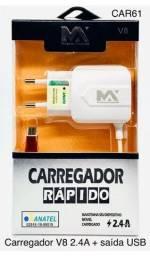 Carregador Para Celular Rápido V8 2,4a 5v Motorola Samsung lg Sony Xiaomi E Asus