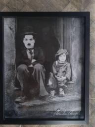 Título do anúncio: Quadro Charlie Chaplin (Tela + Moldura Caixa de Vidro)