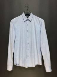 Camisa social azul textura